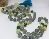 Grey Moonstone Mala, Apatite Mala, Golden Opal Mala, Pineapple Quartz, Mala Beads, Prayer Beads, Japa Mala
