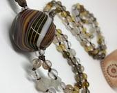 Murano Glass and Gemstone Mala, Unique Prayer Beads, Italian Glass, Quartz Crystal Rutilated and Smoky Quartz Citrine Garnet Moonstone Japa
