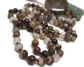 Grounding Mala Beads Necklace, Agate Mala, Bronzite Mala, Quartz Mala, Brown Mala, Prayer Beads,