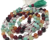 Amazonite Mala Beads Necklace, Rainbow Mala Beads, Garnet, Carnelian, Green Onyx, Selenite, Quartz, Kundalini Yoga, Meditation Beads, Japa