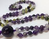 Amethyst Mala, Purple Prayer Beads, Gemstone Mala, Jade, Prehnite, Iolite