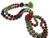 Tiger Eye, Jade, Carnelian, Smoky Quartz, Bronzite Mala Beads, Meditation, Yoga Necklace, Courage, Love, Creativity, Grounding, Chakra, Fall