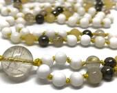 Tridacna Shell Mala with Rutilated Quartz and Pyrite for Courage and Inner Healing   108 Mala, Yellow Mala for Solar Plexus Chakra   Japa