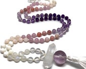Pink Opal Gemstone Mala Necklace for Love | Rose Quartz and Amethyst Prayer Beads | Yoga Necklace | Gift for Her | Bohemian Necklace