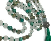 Quartz  Mala, Amazonite Mala, Aquamarine Mala, Labradorite Mala, Green Mala, White Mala, Prayer Beads, Japa Mala, Teal Mala, Yoga Necklace