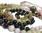 Green Gemstone Mala Beads Necklace, Jade, Green Garnet, Green Onyx, Green Calcite, Heart Chakra Mala Beads, Japa Mala, Mala Designs, Anahata