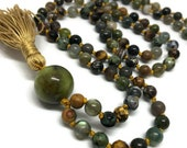 Green Calcite, Red Creek Jasper, Labradorite, Turquoise, Tiger Eye, Sodalite, Ocean Jasper, Turritella, Agate, Mala Beads, Japa Mala