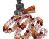 Quartz and Carnelian Mala Beads, Orange Prayer Beads, Japa Meditation Necklace, Yoga Teacher