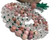Rose Quartz Love Mala | Pink Mala Beads Necklace | Rhodochrosite Mala | Peruvian Pink Opal | Prayer Beads | Yoga | Meditation