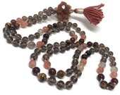 Aragonite Mala Beads Necklace, Smoky Quartz, Sunstone, Hessonite Garnet, Rutilated Quartz, Tiger Eye, Prayer Beads, Kundalini, Meditation