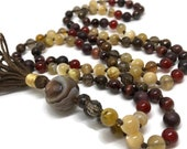 Mala Beads, Mother Of Pearl, Garnet, Red Tiger Eye, Carnelian, Golden Opal, Botswana Agate, Smoky Quartz, Bronzite, Prayer Beads, Meditation