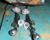 Rose Earrings, Gray Earri...