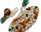 Carnelian Ombré Mala Necklace w/ Turquoise Beads / Chakra / Quartz Mala / Orange Mala / Yoga Necklace / Mala Beads / Japa / Meditation