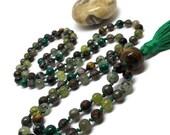 Tiger Eye, Prehnite, Pyrite, Green Garnet, Bronzite, Labradorite, Smoky Quartz, Malachite, Turritella Mala Beads, Yoga Necklace, Green