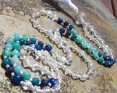 Sapphire Mala, Amazonite Mala, Apatite Mala, Quartz Mala, Kyanite Mala, Aquamarine Mala, Prayer Beads, Green Mala, Teal Mala, Aqua Mala