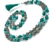 Amazonite and Labradorite Mala Beads Necklace with Clear Quartz Guru Beads | Yoga Jewelry | Boho Style | Natural Gemstone Prayer Beads
