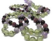 Prehnite, Ruby, Garnet, Amethyst Mala, Prayer Beads, Japa, Yoga, Meditation, Gemstone, Crystal