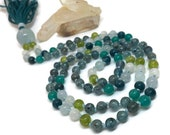 Kyanite, Amazonite, Apatite, Aquamarine, Peridot, Rainbow Moonstone Mala Beads, Prayer Necklace, Japa, Kundalini, Yoga, Meditation