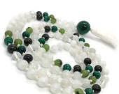 Malachite and Moonstone Mala, Jade, Tourmaline, Rainbow Moonstone Prayer Beads, Yoga Necklace, Meditation Beads