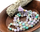 108 Amethyst and Amazonite Mala Bead Necklace | Gemstone Mala Beads | 108 Mala | Amethyst Mala Beads Necklace | Rutilated Quartz