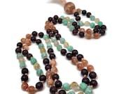 Sunstone Mala Bead Necklace | Amazonite Mala | Rutilated Quartz Mala | Garnet Mala for Grounding | Japa | Yoga, Meditation, Mindfulness