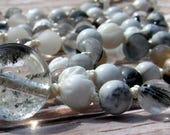 Quartz mala, Phantom Quartz mala, Shell mala, Howlite mala, Tourmalated Quartz mala, Gray Moonstone mala, White mala, Prayer beads