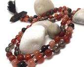 Mala Beads Necklace for Creativity Carnelian Sunstone Smoky Quartz Bronzite Pietersite Prayer Beads Yoga Meditation Chakra Crystals