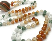 Murano Glass Mala Bead Necklace | Italian Glass and Gemstone Prayer Beads Necklace | Prayer Beads | Japa | Yoga Jewelry | Meditation |