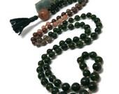Jade and Sunstone Mala Beads | Prayer Beads | Smoky Quartz Mala Beads | Hessonite Garnet Mala Beads | Mala Necklace | Green | Love Mala |