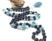 Mala Bead Necklace for Throat and Third Eye Chakra, Iolite Mala Beads, Aquamarine, Apatite, Rainbow Moonstone Prayer Beads, Amazonite