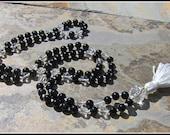 Black Onyx Mala, Quartz Mala, Quartz Prayer Beads, Meditation Beads, Japa Mala, Black Mala