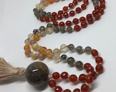 Carnelian and Moonstone Mala, Labradorite, Tourmalinated and Rutilated Quartz, Citrine, Mother of Pearl Prayer Beads, Japa Mala, Orange Mala