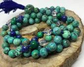 Turquoise, Lapis, Malachite, Quartz Mala Beads, Prayer Beads, Japa, Yoga Necklace, Meditation
