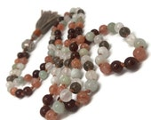 Selenite Mala Beads Necklace, Yoga Jewelry, Meditation, Sunstone Mala Necklace, Hessonite Mala Necklace, Jade Mala Necklace, Smoky Quartz