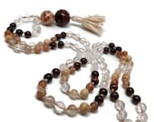 Moonstone Mala, Rutilated Quartz Mala, Garnet Mala, Red Tiger Eye Mala, Sunstone Mala, Necklace, Yoga, Meditation, Prayer Beads, Japa Mala