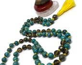 Turquoise Mala / Smoky Quartz Mala / Pyrite Mala / Prayer Beads / Japa Mala / Throat Chakra / Yoga / Meditation / Gift / Kundalini / Natural