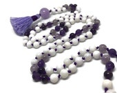 Amethyst Mala, Tridacna Shell Mala, Crown Chakra Mala, Purple Mala, White Mala, Prayer Beads