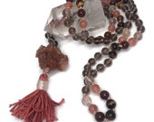 Aragonite Mala Beads Necklace, Smoky Quartz, Sunstone, Hessonite Garnet, Rutilated Quartz, Tiger Eye, Prayer Beads, Kundalini, Meditation