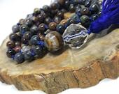 Pietersite, Quartz, Tiger Iron Mala, Yoga Beads, Meditation Necklace