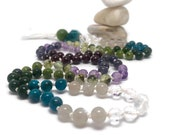 Amethyst Mala Beads Necklace for Yoga and Meditation   Chakra Healing Prayer Beads   Boho Style Tassel Necklace