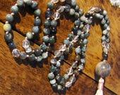 Eagle Eye Mala, Moonstone Mala, Kyanite Mala, Quartz Mala, Grey Tiger Eye Mala, Prayer Beads