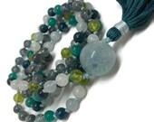 Aquamarine and Peridot Mala Beads Necklace | Blue and Green | Yoga Jewelry | Boho Style Mala Beads | Gemstone Mala Necklace | Japa Mala