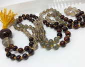 Rutilated Quartz, Smoky Quartz, Garnet, Labradorite, Red Tiger Eye, Dragon Eye Mala Beads, Prayer Beads