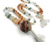 Murano Glass Mala Bead Necklace | Italian Glass and Gemstone Prayer Beads Necklace | Prayer Beads | Japa | Yoga Jewelry | Meditation |