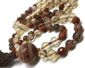 Citrine Mala Beads / Sunstone Mala / Moonstone Mala Necklace / Goldstone / Smoky Quartz / 108 Mala Beads / Yoga Necklace / Kundalini Yoga