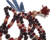 Garnet, Carnelian, and Moonstone Mala Beads Necklace, Garnet Necklace, Yoga Jewelry, Japa, Meditation, Gift, Tassel