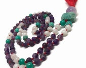 Purple Amethyst Mala Beads Necklace | Amazonite And Rainbow Moonstone Mala | Purple Japa Mala | Boho Prayer Beads | Yoga And Meditation |