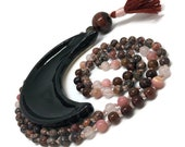 Leopardskin Jasper Mala Beads Necklace | Rose Quartz Mala | Peruvian Pink Opal Mala | Hessonite Garnet Mala | Red Tiger Eye Mala | Love Mala