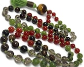 Carnelian Mala Beads for Creativity   Yoga and Meditation   Japa   Tiger Eye and Bronzite  for Courage   Jade Stone for Harmony   Prayer