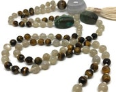 Tiger Eye, Turquoise, and Moonstone Mala, Prayer Beads